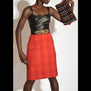 Vintage 80s Escada Red Tweed Pencil Skirt Size 42